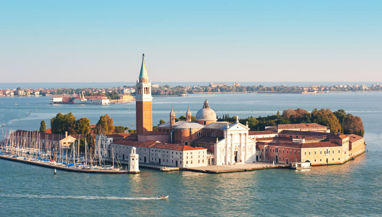 St. George island and Grand canal, aerial view. Venice, Italy.